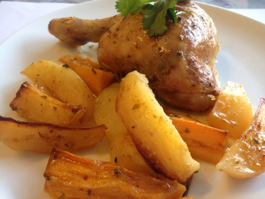 Roasted chicken with potatoes and sweet  potatoes