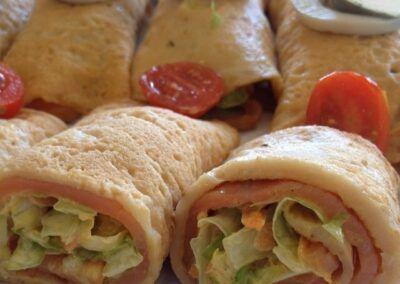 Smoked salmon crepe rolls